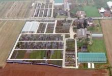 Luchtfoto van boomkwekerij De Moor, Oosterzele, 1999.