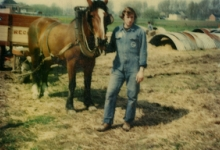 Onbekende aan paard en kar, Van Der Keere, Sint-Lievens-Houtem, jaren 1970