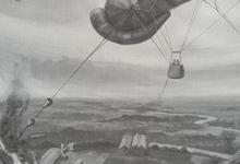 Luitenant Hawker bombardeert een Duitse Zeppelinloods te Gontrode, Gontrode, 19 april 1915