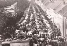 Jaarmarkt van bovenaf gezien, Sint-Lievens-Houtem, 1967