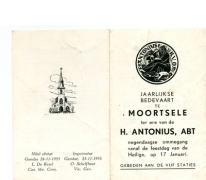 Kaartje 'Jaarlijkse Bedevaart', Moortsele, 1956
