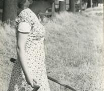 """Christine Lampaert, opname van de film """"Ouden Balegemsen"""" (van Roger Van Brakel), 1978"""