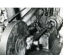 Riemaandrijving van de stoommachine, stokerij Van Damme, Balegem, 1978