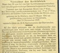 Bidprentje Karel-Lodewijck Van Spaendonck, Oosterzele, 1937