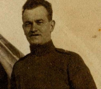 Portret van James Reid piloot RAF, Oosterzele