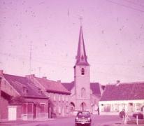 Zicht op Dorpsplein, Moortsele, jaren 1960