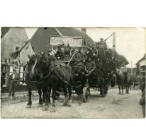 Wagen vlasbewerking, viering 100 jaar België, Munte, 1930