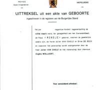 Kopie van uittreksel uit de geboorteakte van de reus Mondje Wollaert, Merelbeke, 1990
