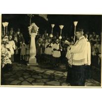 Kaarskensprocessie aan de kapel, Munte, jaren 1950