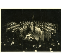 Kaarskensprocessie, bovenaanzicht, Munte, jaren 1950