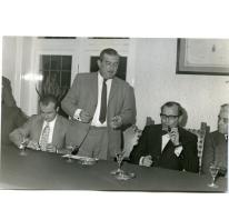 Handelsbeurs, Voorzitter Michel Lefevre dankt het gemeentebetuur, 1970.