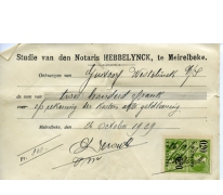 Ontvangstbewijs van de afbetaling van een hypothecair krediet, Merelbeke, 1929