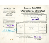 Belasting op duivenhokken, Balegem, 1948