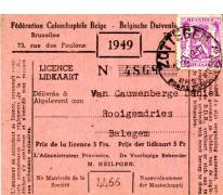Lidkaart v.d. Belgische Duivenbond, Balegem, 1949