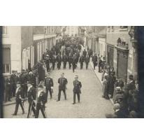Begrafenisstoet van de vermoorde politiecommissaris Gentil Demeyer te Melle, 1920