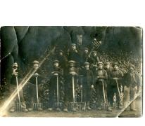 Groepsfoto van Merelbekenaren tijdens de grote bietencampagne, Frankrijk, 1920-1925