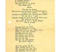 Liedtekst 'De Wreede Moord te Melle', naar aanleiding van de moord op de politiecommissaris Gentil Demeyer te Melle, 1920