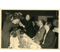 Personeelsfeest van schoenenfabriek Sofacq, Merelbeke, 1950-1960
