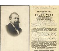 Doodsprentje met betrekking tot de Melse beeldhouwer Jules Vits, 1935