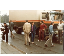 Chaos na ongeval met wagen, Merelbeke, 1982.