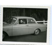 Omer D(Hooge in zijn Ford taunus, Waasmunster, 1950-1960