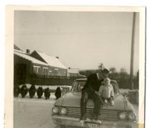Sneeuwfoto op de wagen, Bavegem, 1967
