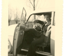 Gilbert De Paepe in de Opel Record, Merelbeke, jaren 1960