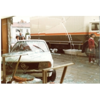 Gebroken vitrine bakkerij De Paepe, Merelbeke, 1982