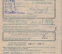 Verzekeringskaart Firma Saey, Sint-Lievens-Houtem, 1949