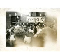 Muzikanten op verwelkoming Gustaaf Van Bever, Sint-Lievens-Houtem, 1945