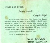 Reclamefolder Frans Duquet, Sint-Lievens-Houtem
