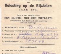 Aangiftebewijs, 1961, Herzele