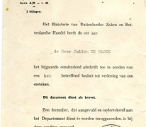 Brief ter kennisgeving, Brussel, 1956