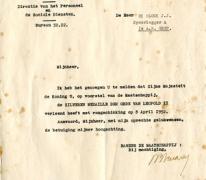 Brief over het toekennen van een ereteken, Brussel, 1954