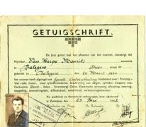 Getuigschrift, Zottegem, 1942
