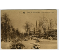 Hoekje van het park van het college te Melle onder de sneeuw