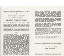 Doodsprentje pastoor Van De Velde Moortsele 1974