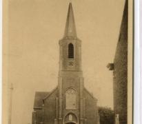 Kerk en voorplein, Gontrode, 1944