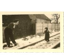 Trambaan in de sneeuw, Sint-Lievens-Houtem, 1950