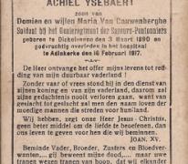 Bidprentje Achiel Ysebaert, Adinkerke, 1917