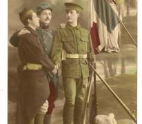"""Prentbriefkaart uit WO I """"Vaillante Trinité"""", 1914"""