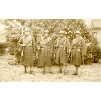 Groepje van vier soldaten, Eerste Wereldoorlog, details onbekend