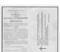 Bidprentje v. Henri-Louis Uytterhaegen, Balegem, 1949