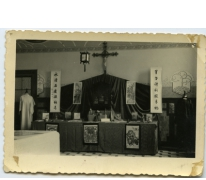 Missietentoonstelling in studiezaal, Sint-Lievens-Houtem, 1947