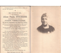 Bidprentje Alice Paula Stuttens, Sint-Lievens-Houtem, 1942