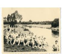 Zwempartij op kamp chiro Melle, Herentals, 1954