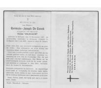 Bidprentje Germain-Joseph De Canck, Zottegem, 1957