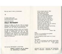 Bidprentje deken Albert Reynaert, Oosterzele, 1981