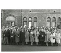 Groepsfoto 15-jarig bestaan CMVB, Oosterzele, jaren 1970