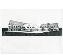 Tekening van de gebouwen van de rijkswacht, Oosterzele, 1984-1985
